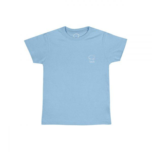 Camiseta azul celeste logo blanco unisex front poodle