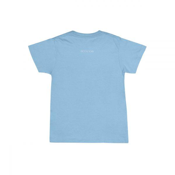 Camiseta azul celeste logo blanco unisex back poodle